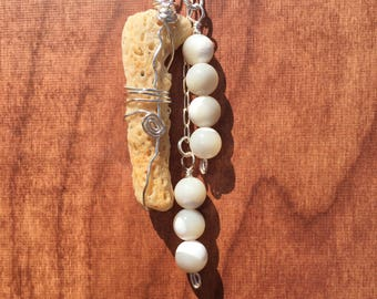 Long and Dangly Coral Necklace with pearly white resin beads and silver chain
