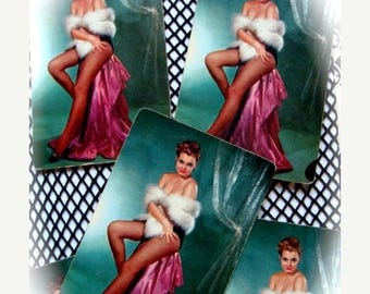 ONSALE Vintage Antique Pin Up Kitten Sexy 50's Queen of the Fishnets Trade Playing Cards
