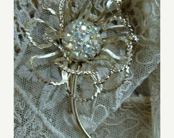 ONSALE Gorgeous Vintage Signature Ruffled Rhinestone Flower Brooch