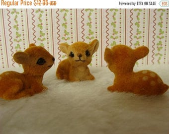 ONSALE 3 Small Vintage Adorable Flocked Baby Doe Deers with Life Like Eyes Lot