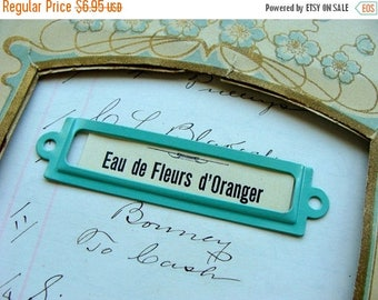 ONSALE Enamel Aqua Metal Label Holder Book Plate
