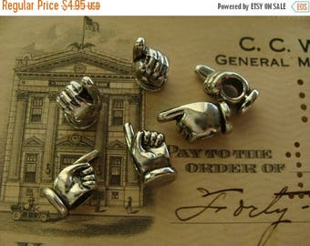 ONSALE 6 Detailed Finger Pointing Silver Charms Beads Stampings Lot