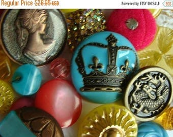ONSALE Antique Renaissance Medieval Mother of Dragons Game of Thrones Inspired Glass, Rhinestone Metal and Vintage Mixed Buttons Lot N0 717