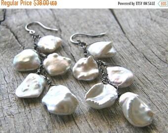 Summer Sale 20% Off Keshi Pearl Earrings, Cornflake Pearl and Sterling Silver Earrings, Bridal Earrings