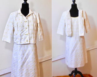 Vintage Margaret Koehler Two piece Dress - Sleeveless Shift with Matching Jacket - Cotton Daisy 2 Piece Dress
