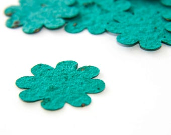 200 Teal Seed Paper Flower Plantable Confetti diy wedding favors, place cards, save the date cards creative invitations by Nature Favors