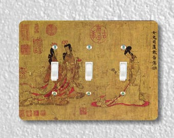 Admonitions Scroll Chinese Painting Triple Toggle Light Switch Plate Cover