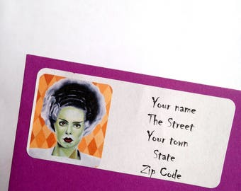 Bride of Frankenstein Return Address Labels stickers to personalise your stationary gothic horror