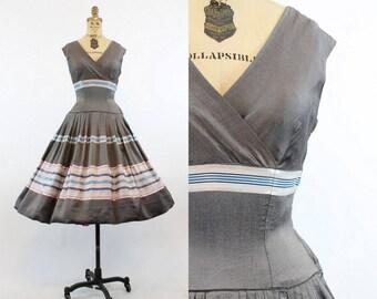 50s Silk Striped Dress XS / 1950s Vintage Dress Full Skirt / Silver Fox Dress