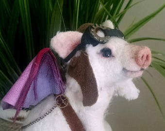 Steampunk When Pigs Fly Piglet A Test of Timme OOAK  Needle felted  Alpaca Artist Doll Bear by Stevi T. Vintage Pink Cast metal Hour Glass