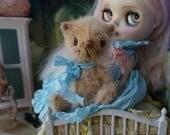 """OOAK Artist Teddy Cat - GABBY - 4.25"""" Tall Mohair Collectible Teddy Bear Kitty"""