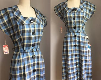 Vintage 1940's NOS Dan River Blue and Butter Yellow Plaid Cotton Dress Size Small