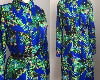 Vintage 1970's Abstract Floral Print Dress Size Medium