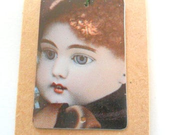Victorian  Doll Recycled Vintage 1987 Tin Pendant Finding