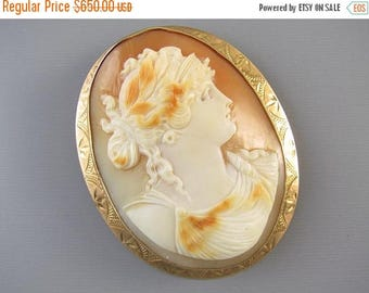 ANNUAL CAMEO SALE Large antique Edwardian rose gold cameo brooch pin pendant signed Ziething & Co