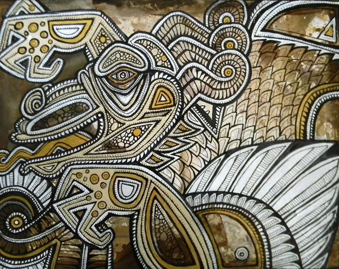 Original Tribal Abstract Dragon Painting by Lynnette Shelley