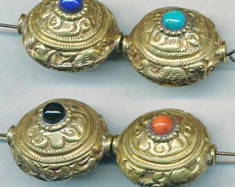 Beautiful HANDMADE NEPAL BEADS 23x21mm Four Colors, 1 Bead