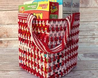 Reusable Grocery Bag - farmers market tote - beach tote - soccer bag - activity bag - daycare bag - housewarming gift - laundry bag