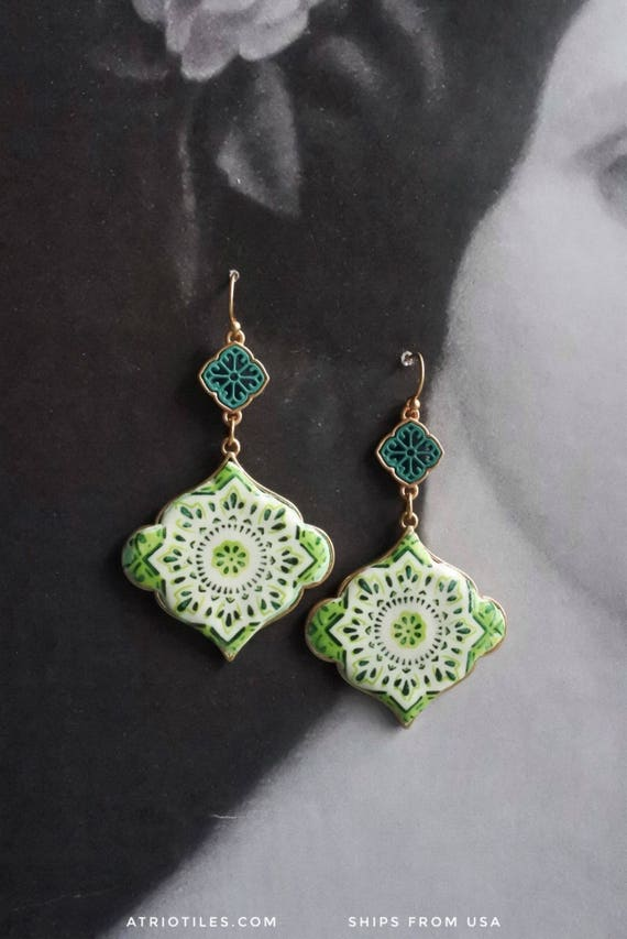 Earrings Portugal Tile Azulejo Antique Ilhavo, Green- Geometric Persian Gift Box Included Drops Dangle PERSIAN