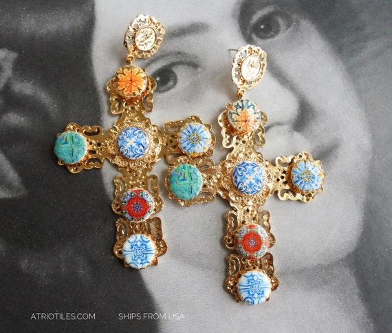 Cross Earrings Portugal Majolica Antique Azulejo Tile  - BAROQUE Statement Piece - Relic - Cross of Christ