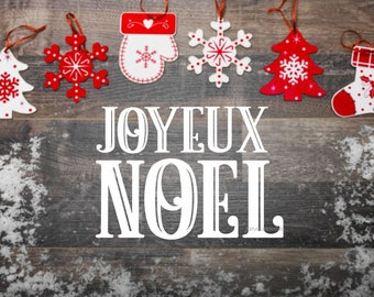 Noel Decal, Joyeux Noel, Vinyl Sticker, Christmas Sign Decal, Chalkboard Sticker, Happy Holidays, Merry Christmas decal, old fashioned decal