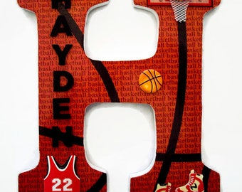 Decorative Wall Letters basketball wood letter / sports letters / wall decor / wall