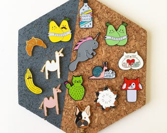 Enamel Pin set of three, Cactus, Croissant Cat, Camelcorn, Perfect Pear, Happy Sauce, All One cat, Frenchie, Snail Mail, HibouDesigns