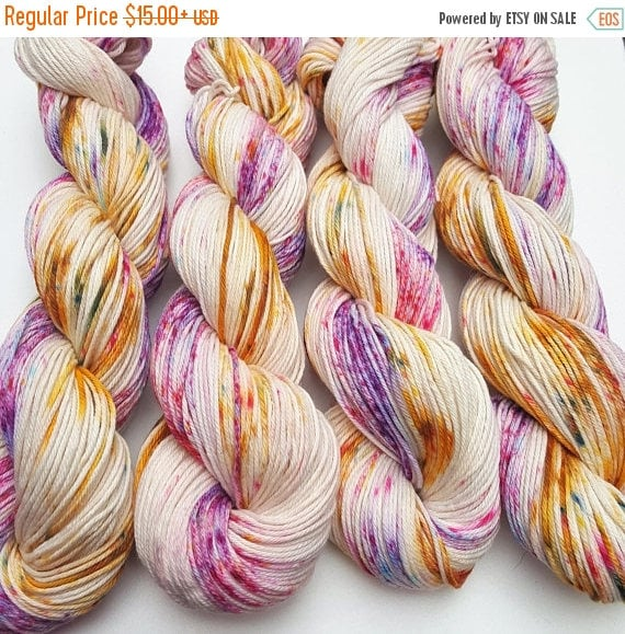 4th of July Sale Day Dreams- 100% Cotton, Hand Dyed, Variegated, Speckled, Hand Painted Yarn