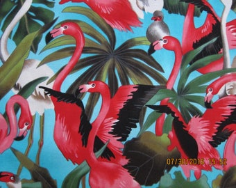 RARE FLAMINGO FABRIC and Foliage on Blue Michael Miller 1 Yard - Very rare - #KR6