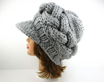 Gray Newsboy Cap - Women's Hat With Visor - Brimmed Beanie - Cable Knit Cap - Chunky Visor Hat - Knit Accessories