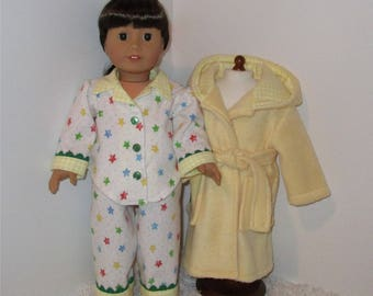 """Yellow Robe and Slippers with Flannel Pajamas, Fits 18"""" Dolls // AG Pajama Set, American Girl, Slippers, AG Doll Clothes, Sleepwear, PJs"""