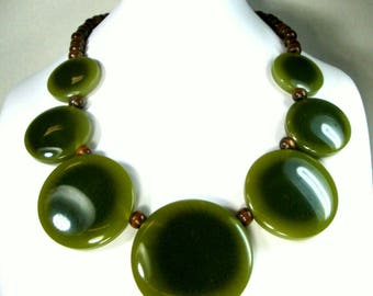 MOD Green Lucite Necklace, 1970s Graduated Large Circles Separated by Brown Wood Beads, Modernist Statement, Earthy Boho Colors