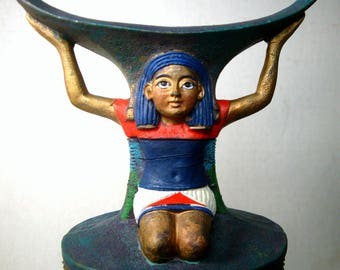 Egyptian Revival Trinket Box, Kneeling Slave, Pyramids n Sphinx Treasure Inside, Resin, Hinged Box, 1990s