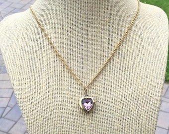 ON SALE - Gold Plated Heart Locket with Pink Rhinestone Necklace - Top Opening Hinged Locket