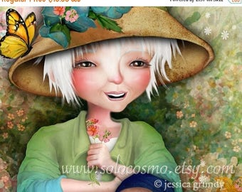 """50% Off SALE 5x7 Art Print """"Betty in her Garden"""" Woman in Field of Flowers - Small Sized Premium Giclee Print"""