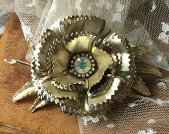 Another Totally Large AB Rhinestone Gold Tone Flower Brooch Pin Unsigned 1950's 1960's Coro Style Crimped Edged Petals Statement Jewelry