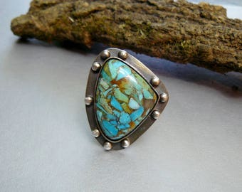 Artisan Ring, Statement Ring, Conglomerate Turquoise, Copper Ring, Sterling Silver Ring, Adjustable, Art Jewelry, Artisan Jewelry, Gemstone