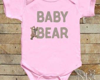 Baby Bear Girl Bodysuit Girl Bear Tshirts Pink Bear Shirt Infant Girl Summer Clothes