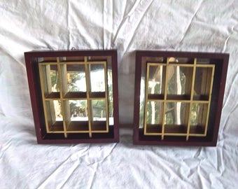 Vintage Set Mirrored Wallhanging Curio Mahogany Shelves Miniature Display Shelves Vintage Home and Living Home Decor Wallhanging Displays