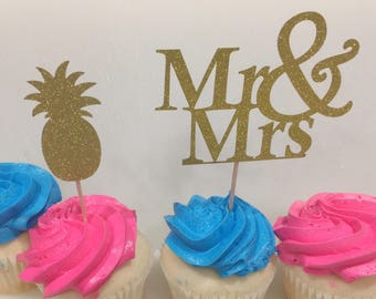 Free shipping with any other order from my shop! Set of 6 LARGE glittery gold Mr & Mrs and or pineapple cupcake toppers.