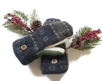 Felted Wool Mittens - Fleece Lined Wool Mittens - Navy Green Wool Mittens - Recycled Wool Mittens - Upcycled Wool Mittens - Repurposed Wool