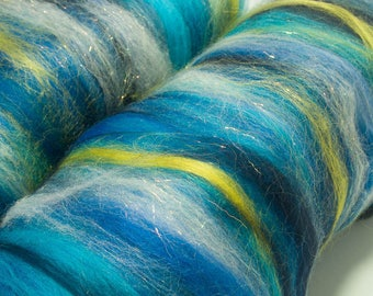 Beautiful Hand Carded Batts, hand dyed Merino, British Falkland, Polwarth , Holographic sparkles, Spinning fibre, felting, 109g, Cosmos