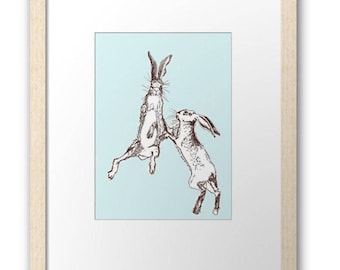 Boxing Hares signed print, ( small size, framed and mounted )