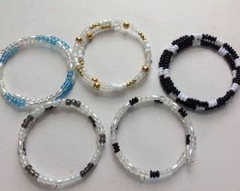 Five memory wire bracelets