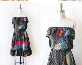 20% OFF SALE 70s black floral dress, vintage strapless ruffled dress, 1970s disco dress, 80s mini dress, extra small xs