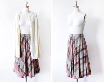 70s pleated plaid skirt, vintage 1970s wool skirt, burgundy + gray skirt, midi skirt small s