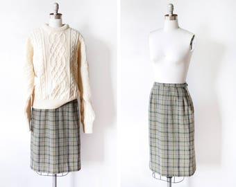60s plaid wool skirt, 1960s vintage skirt, gray + green + blue pencil skirt, 1960s knee length skirt, 26 waist, small s