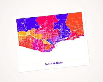 Santa Barbara Map Print.  Choose your size and color.  University of California Gaucho Art.  UCSB Poster.