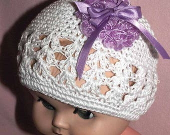 Girl Child's Hat Cap Little Diva Hand Crocheted White with Purple Bow