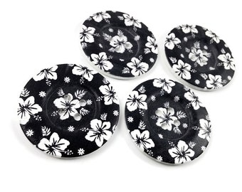 2 inch big buttons - Black and white flowers wooden sewing buttons